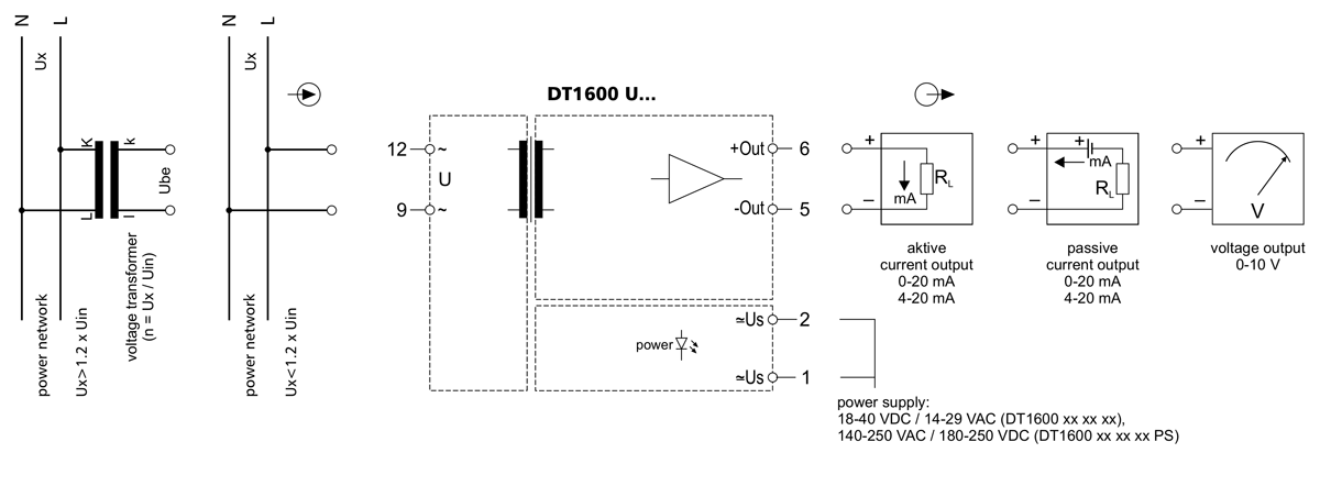 DT1600 U AC voltage transmitters application example