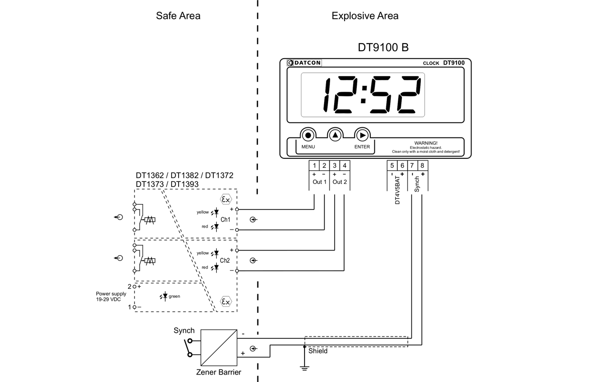 DT9102-B intrinsically safe digital clocks application example