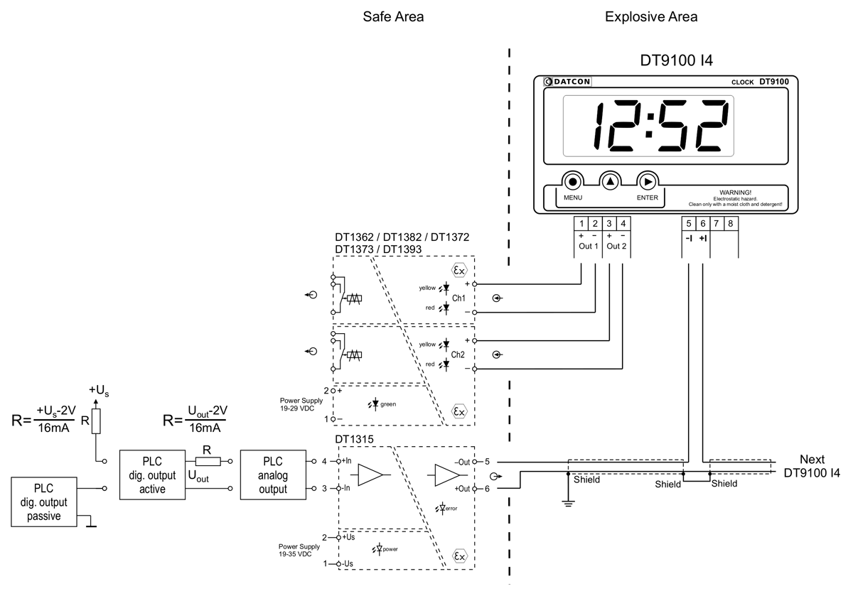 DT9102-I4 intrinsically safe digital clocks application example