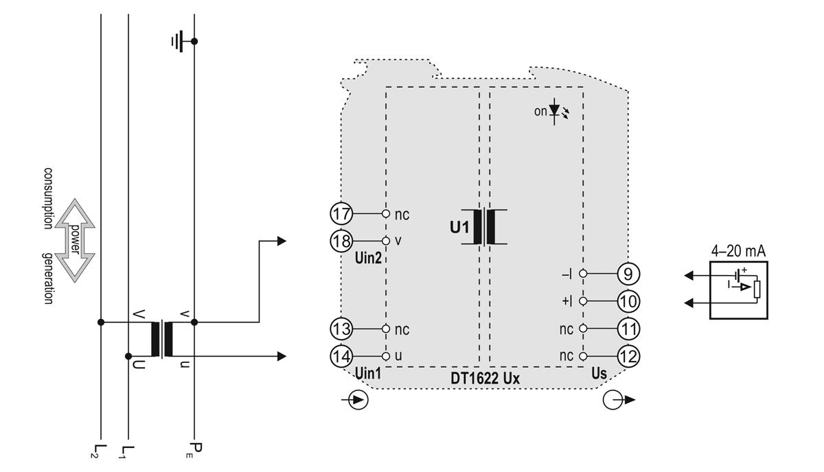DT1622 U loop powered AC voltage transmitters application example