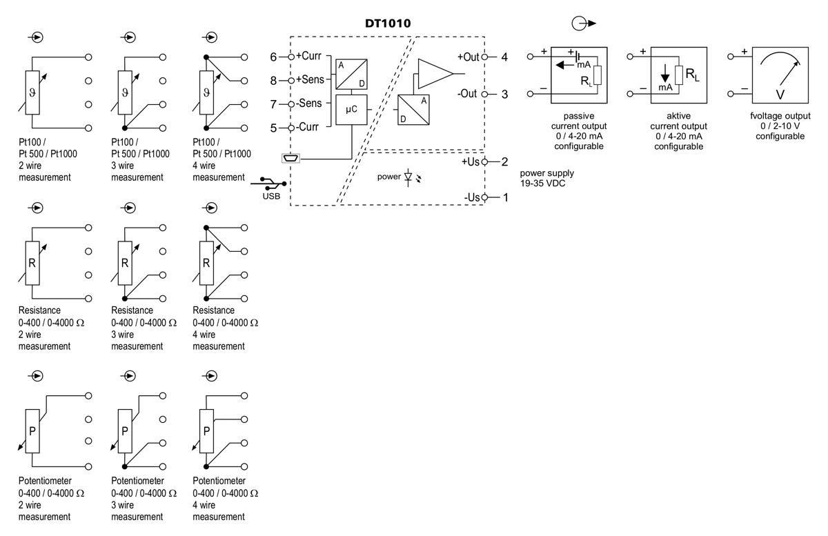 DT1010 temperature resistance potentiometer transmitter application example