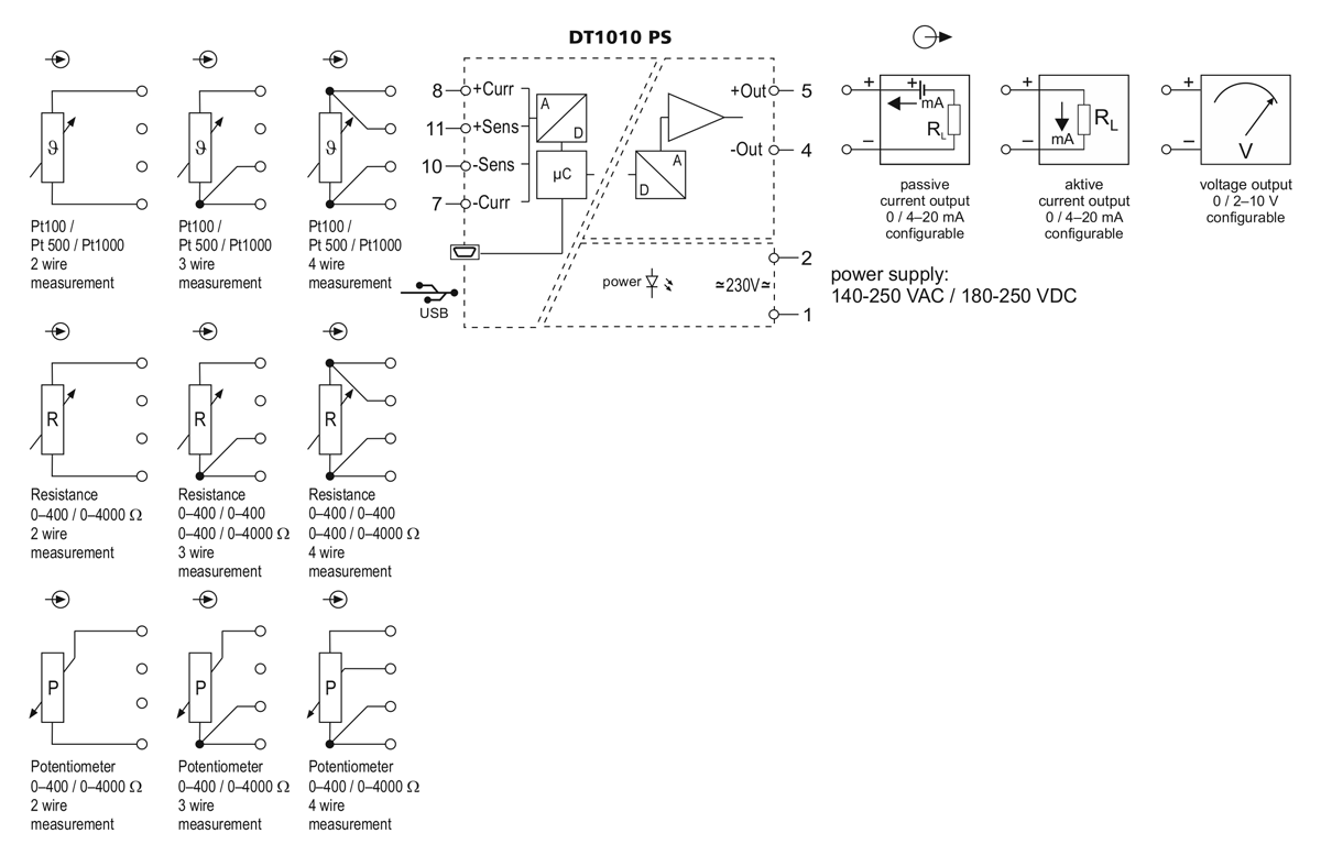 DT1010 PS temperature resistance potentiometer transmitter application example