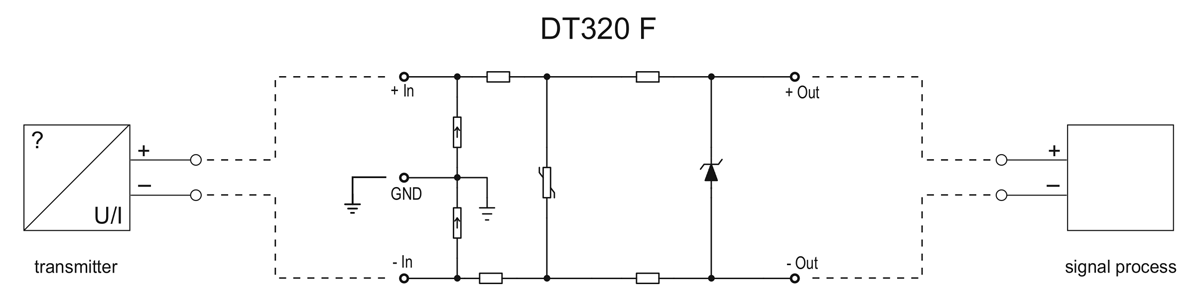 DT320 F overvoltage protector-application example