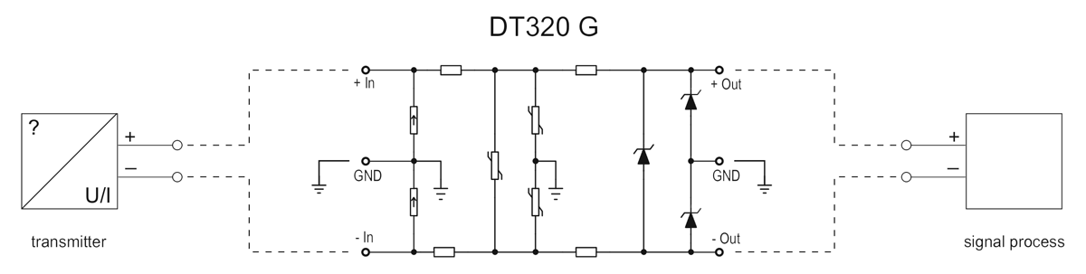 DT320 G overvoltage protector-application example
